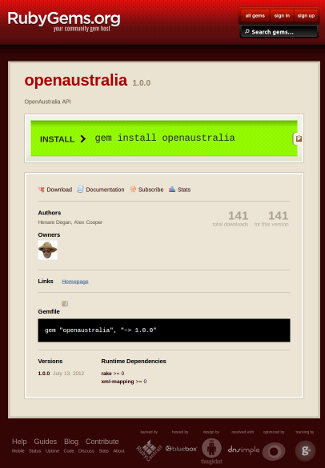 Screenshot of OpenAustralia API on RubyGems.org